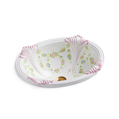 OE4-74GL-WH Sherle Wagner International Garlands & Leaves on White Provence Ceramic Over Edge Sink