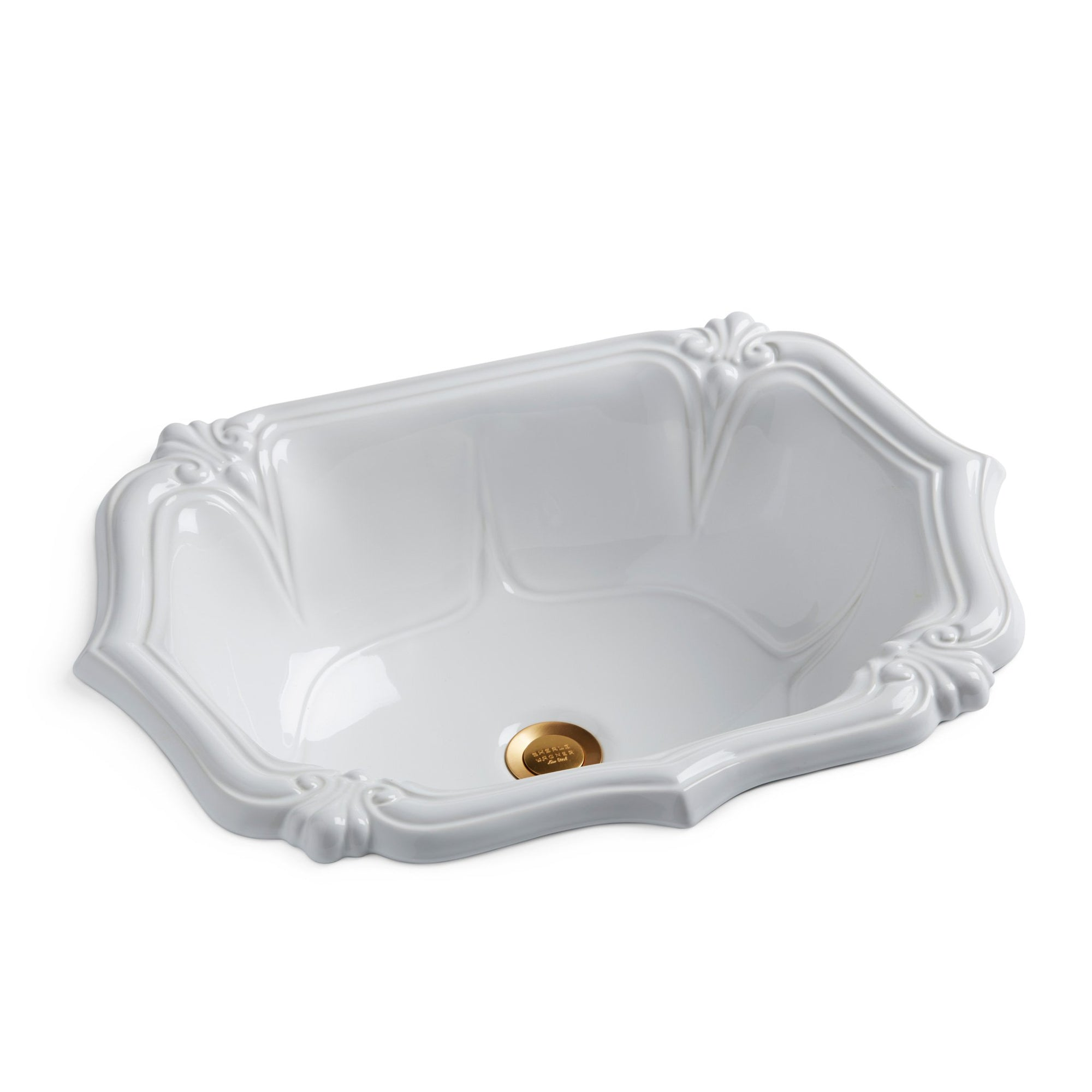 OE6-WHT Sherle Wagner International White Glazed Versailies Ceramic Over Edge Sink