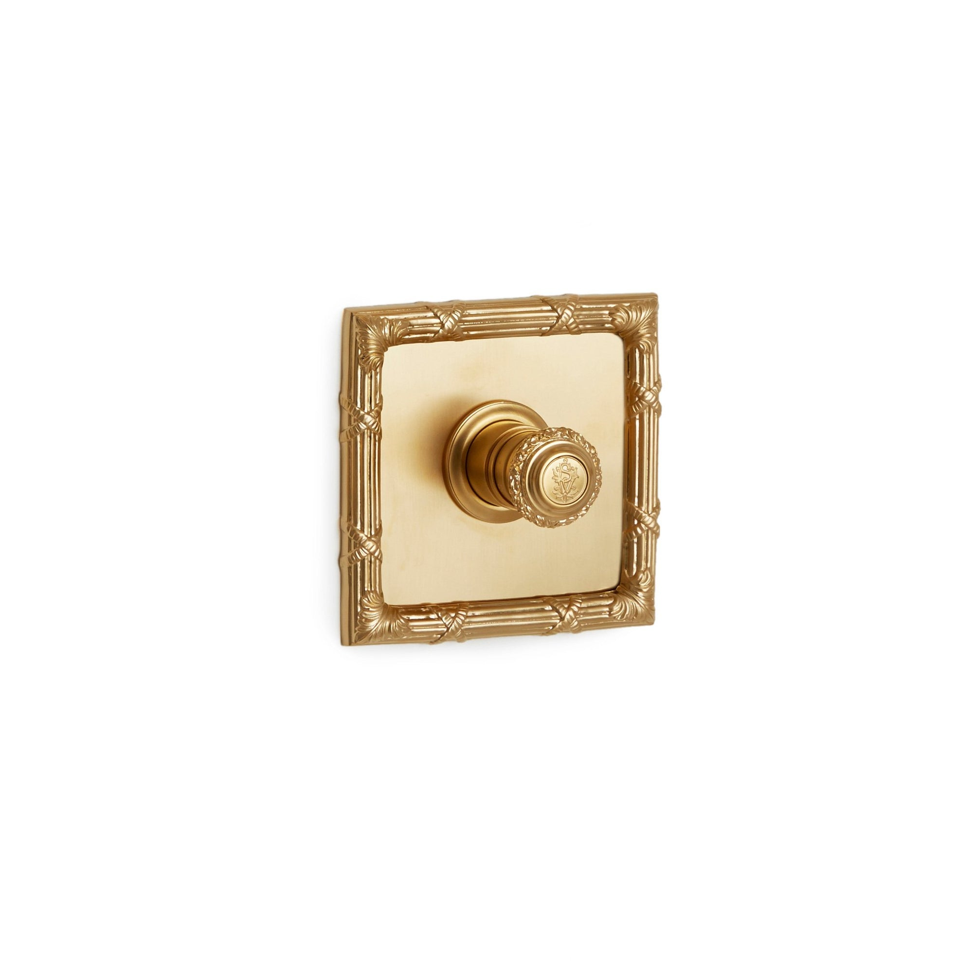 TMO03AC-LOGO-GP Sherle Wagner International Ribbon & Reed High Flow Thermostatic Trim in Gold Plate metal finish