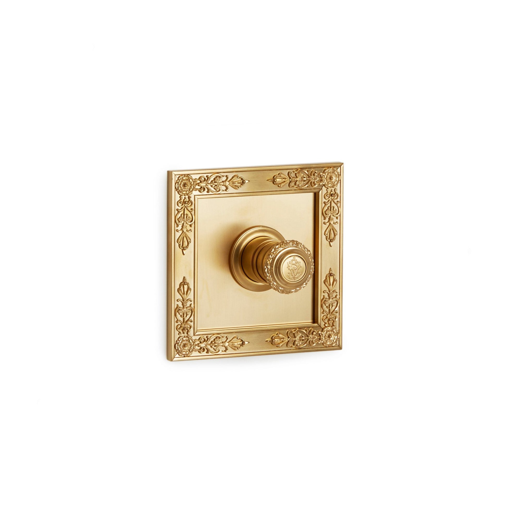 TMO04AC-LOGO-GP Sherle Wagner International Filigree High Flow Thermostatic Trim in Gold Plate metal finish