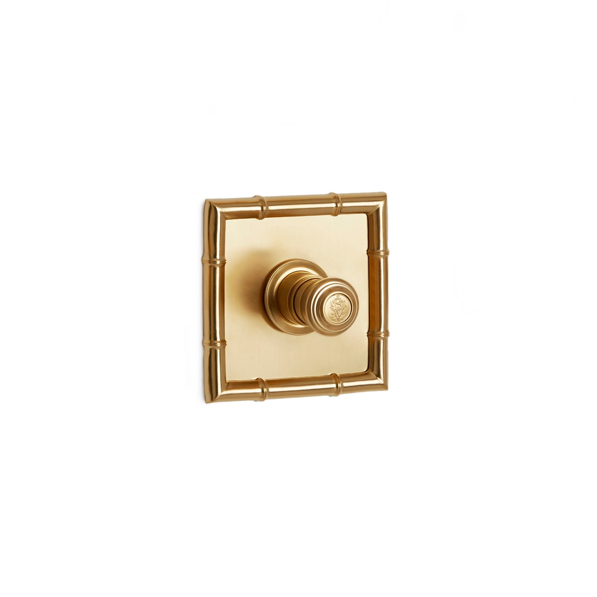 TMO05PL-LOGO-GP Sherle Wagner International Bamboo High Flow Thermostatic Trim in Gold Plate metal finish