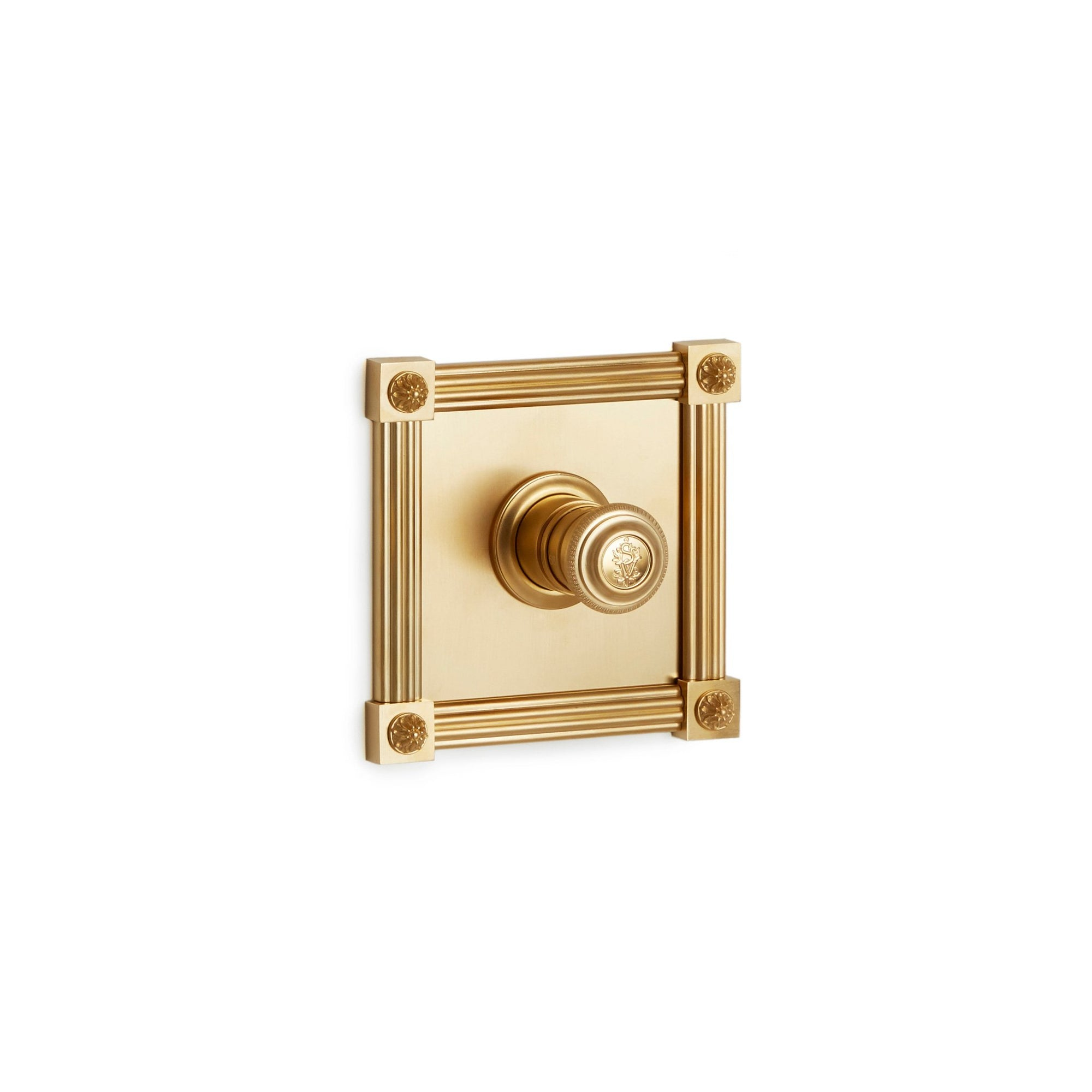 TMO06KN-LOGO-GP Sherle Wagner International Reeded Rosette High Flow Thermostatic Trim in Gold Plate metal finish