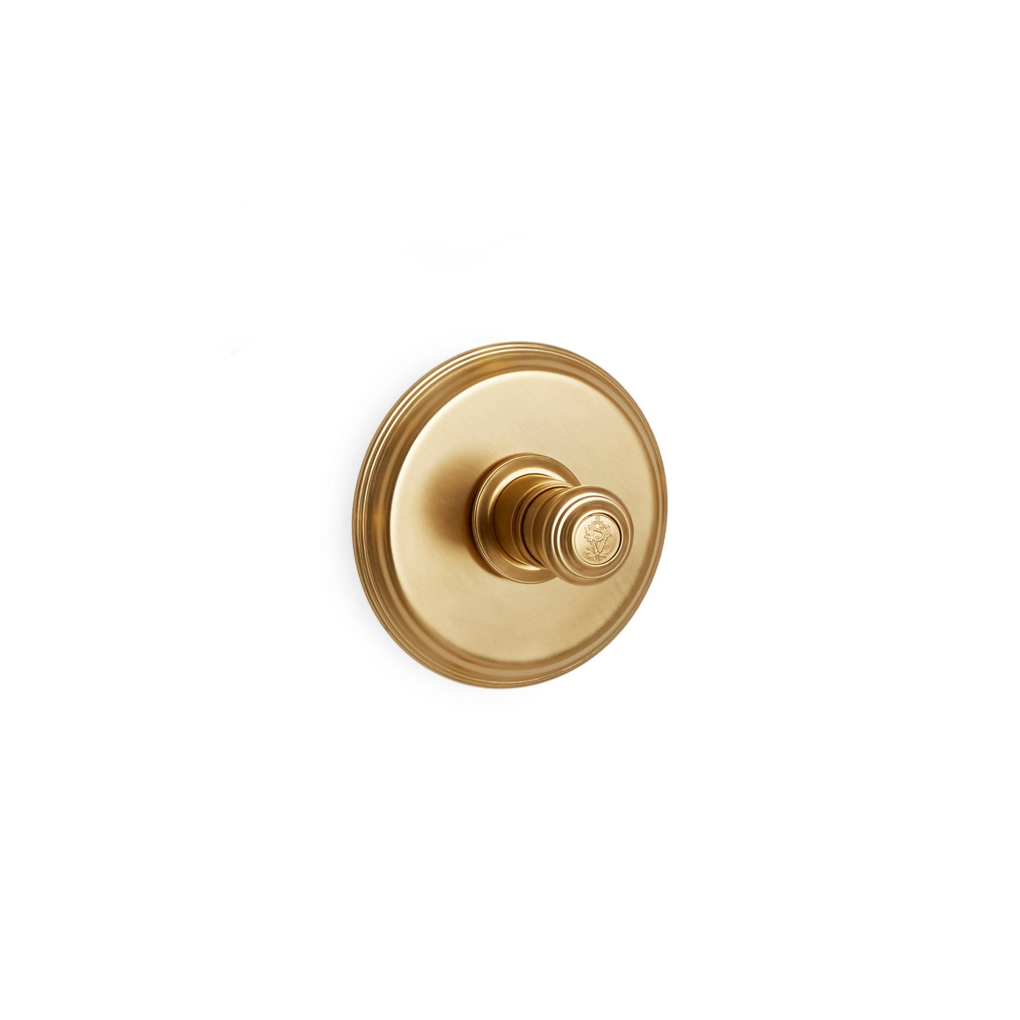 TMO07PL-LOGO-GP Sherle Wagner International Grey High Flow Thermostatic Trim in Gold Plate metal finish