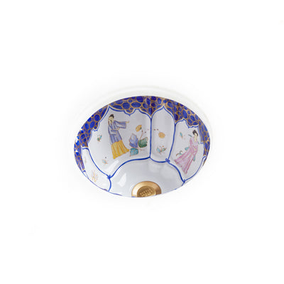 UE12-60BL-WH Sherle Wagner International Chinoiserie Blue Painted Ceramic Under Edge Sink on White