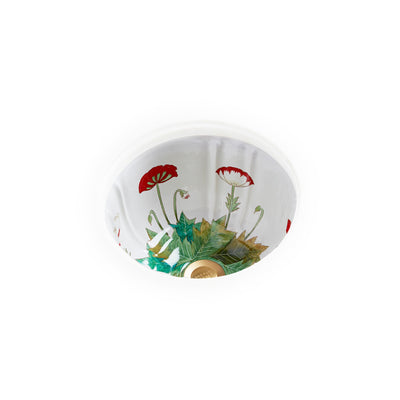 UE12-69PP-WH Sherle Wagner International Poppies Painted Ceramic Under Edge Sink on White