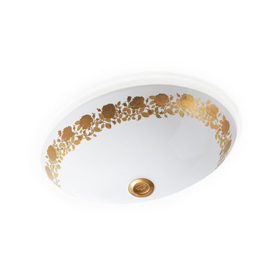 UE14-11EN-G-WH Sherle Wagner International Banded Burnished Gold Rose Garland on White Ceramic Under Edge Sink