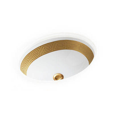 UE14-1EN-G-WH Sherle Wagner International Banded Burnished Gold Greek Key on White Ceramic Under Edge Sink