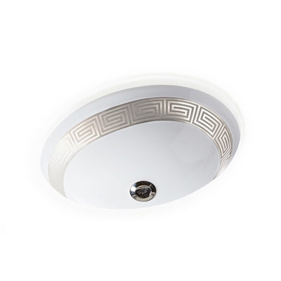 UE14-1EN-HP-WH Sherle Wagner International Banded Polished Platinum Greek Key on White Ceramic Under Edge Sink