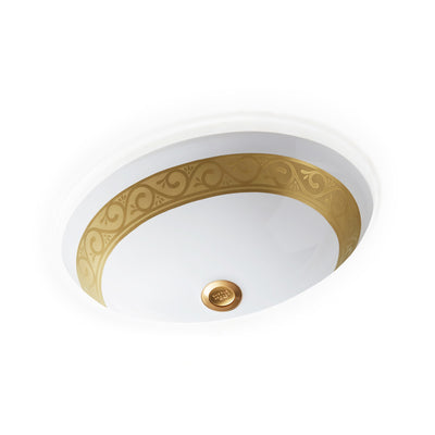 UE14-4EN-G-WH Sherle Wagner International Banded Burnished Gold Scroll on White Ceramic Under Edge Sink