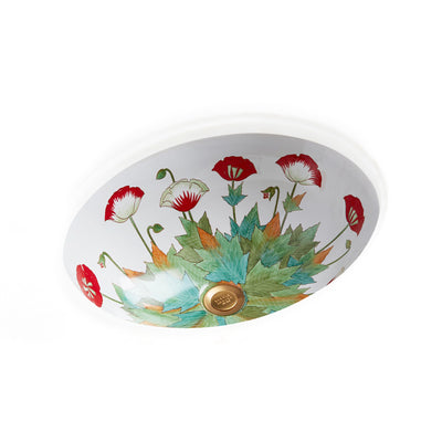 UE14-69PP-WH Sherle Wagner International Poppies on White Ceramic Under Edge Sink