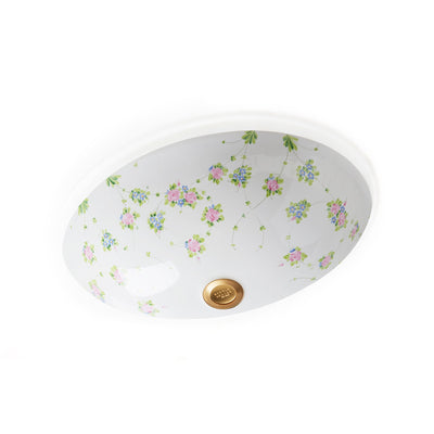 UE14-74GL-WH Sherle Wagner International Garlands & Leaves on White Ceramic Under Edge Sink
