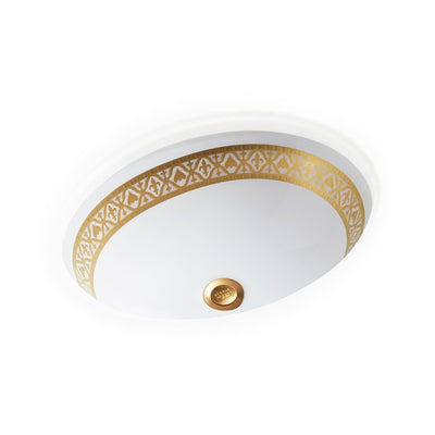 UE14-7EN-G-WH Sherle Wagner International Banded Burnished Gold Napoleonic Bee on White Ceramic Under Edge Sink