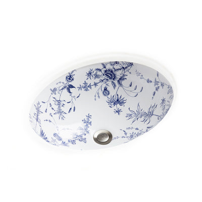 UE14-89BL-WH Sherle Wagner International Le Jardin Blue on White Ceramic Under Edge Sink