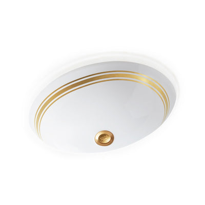 UE14-8EN-G-WH Sherle Wagner International Banded Burnished Gold Classic Lines on White Ceramic Under Edge Sink