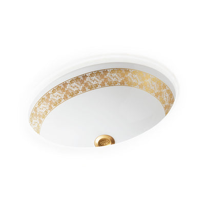 UE15-10EN-G-WH Sherle Wagner International Banded Burnished Gold English Ivy Lace on White Ceramic Under Edge Sink