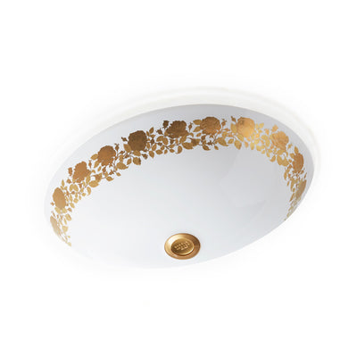UE15-11EN-G-WH Sherle Wagner International Banded Burnished Gold Rose Garland on White Ceramic Under Edge Sink