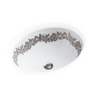 UE15-12EN-P-WH Sherle Wagner International Banded Burnished Platinum Acorn Garland on White Ceramic Under Edge Sink