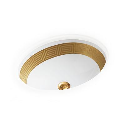 UE15-1EN-G-WH Sherle Wagner International Banded Burnished Gold Greek Key on White Ceramic Under Edge Sink