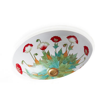 UE15-69PP-WH Sherle Wagner International Poppies on White Ceramic Under Edge Sink