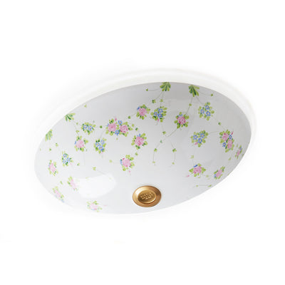 UE15-74GL-WH Sherle Wagner International Garlands & Leaves on White Ceramic Under Edge Sink