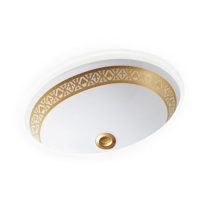 UE15-7EN-G-WH Sherle Wagner International Banded Burnished Gold Napoleonic Bee on White Ceramic Under Edge Sink