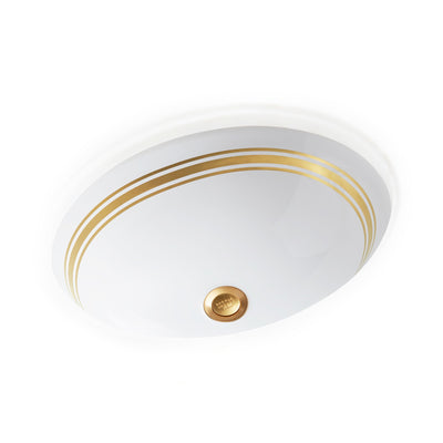 UE15-8EN-G-WH Sherle Wagner International Banded Burnished Gold Classic Lines on White Ceramic Under Edge Sink