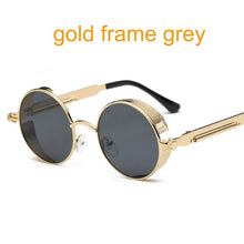 Load image into Gallery viewer, Gothic Steampunk Round Metal Frame Mirror Sunglasses
