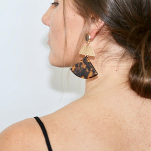 Acetate & Gold Triangle Earrings