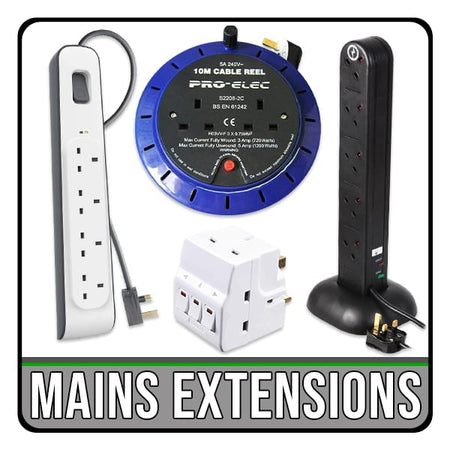 uk mains extension cables. leads with surge protection. towers and extenders. iChoose Ltd.