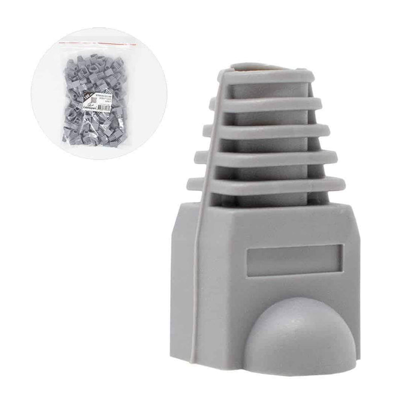 Cablexpert Bag of 100 Strain Relief Boot Plug Caps Grey Cablexpert