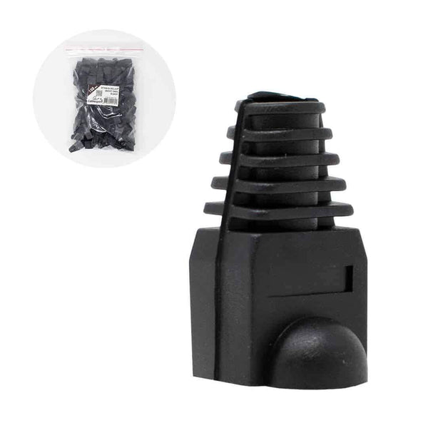 Cablexpert Bag of 100 Strain Relief Boot Plug Caps RJ45 Black Cablexpert