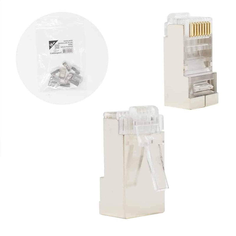 "Cablexpert Shielded Modular Plug 30u"" Gold Plated 10 per Bag Cablexpert"