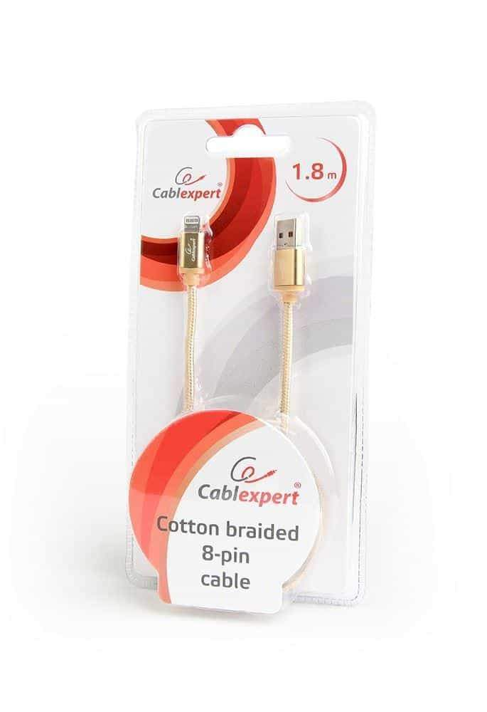 Cablexpert USB 2.0 Lightning Braided Cable iPhone 1.8m Gold Cablexpert