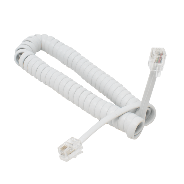 RJ10 Telephone Curly Cable Coiled Lead for Handset White 2m Cablexpert