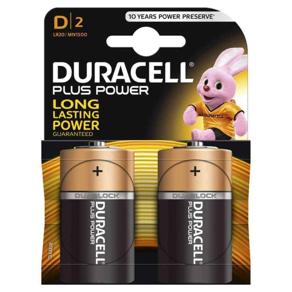 Duracell Plus Power Batteries D LR20/MN1300 Pack of 2 Duracell