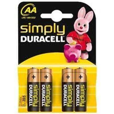 Duracell Simply Batteries AA LR6/MN1500 Pack of 4 Duracell