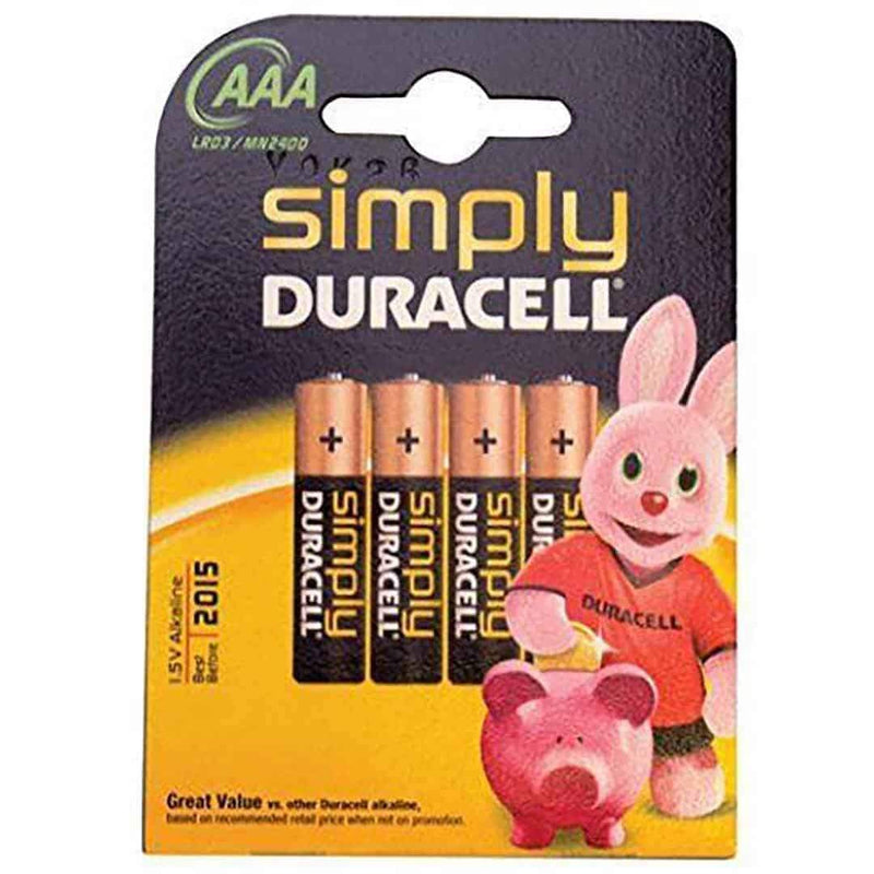 Duracell Simply Batteries AAA LR03/MN2400 Pack of 4 Duracell