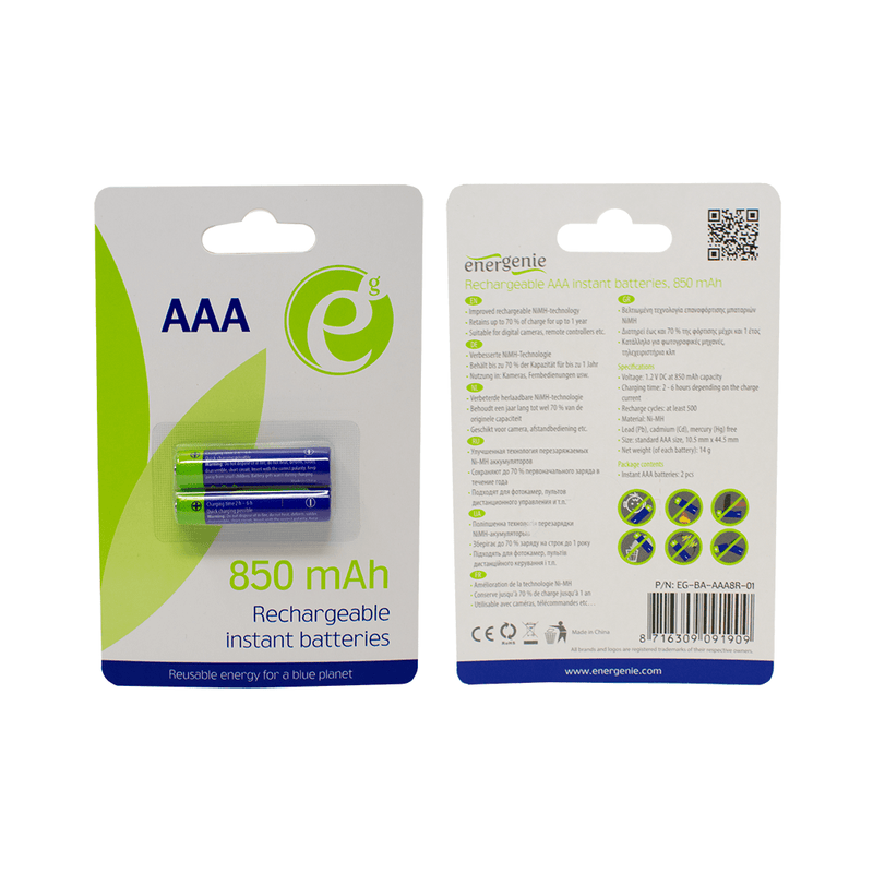 Energenie AAA Rechargeable Battery 850mAh - 2 in a Pack Energenie