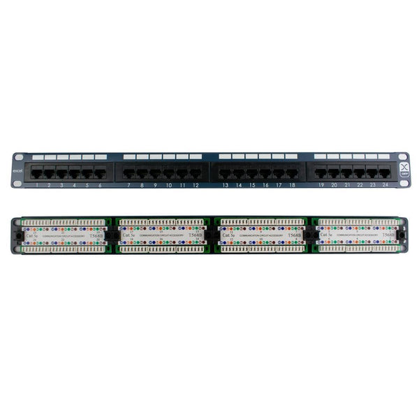 Excel Cat5e 100-450 24-Port Patch Panel 1U for Data Cabinet Blue Excel