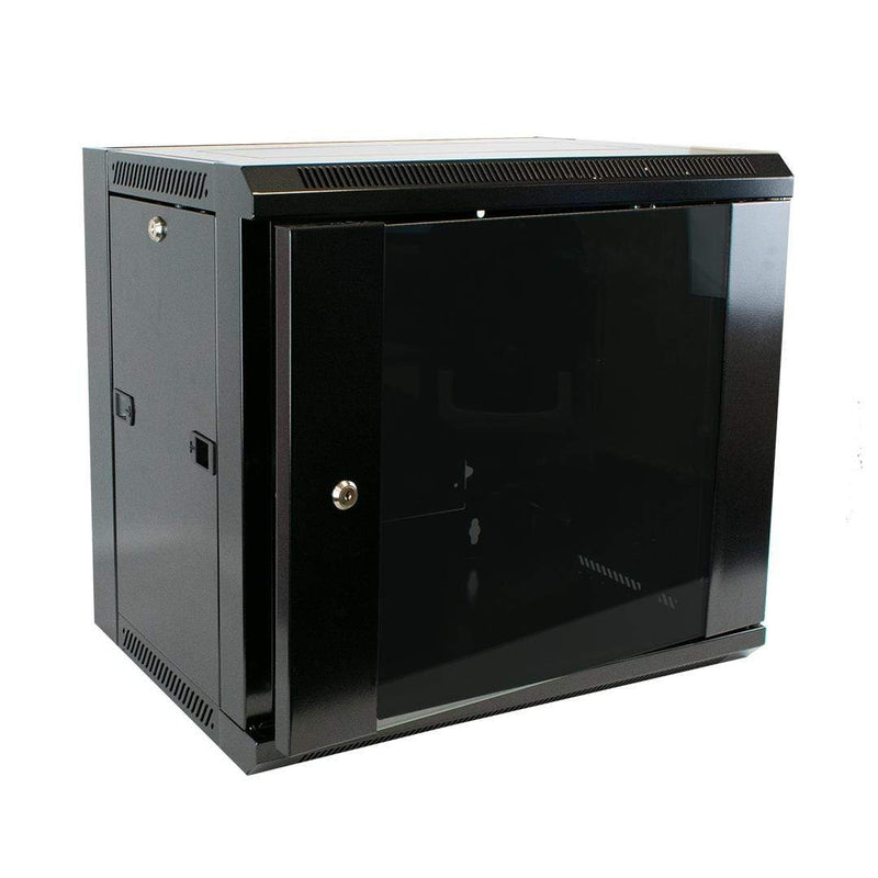 "Excel WB9.390SG-BK 9U 19"" Wall Mounted Data Server Cabinet Black Excel"
