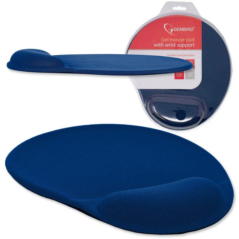 Gembird Gel Mouse Mat with Wrist Support for Optical Mouse Blue Gembird