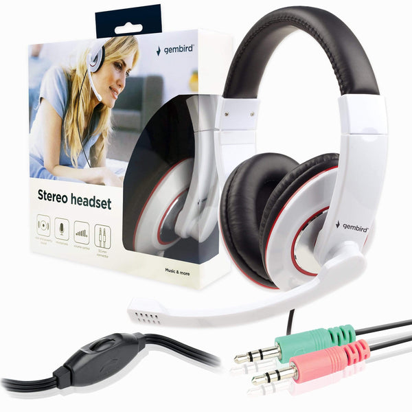Gembird MHS-001-GW Stereo Headset with Microphone for PC White Gembird