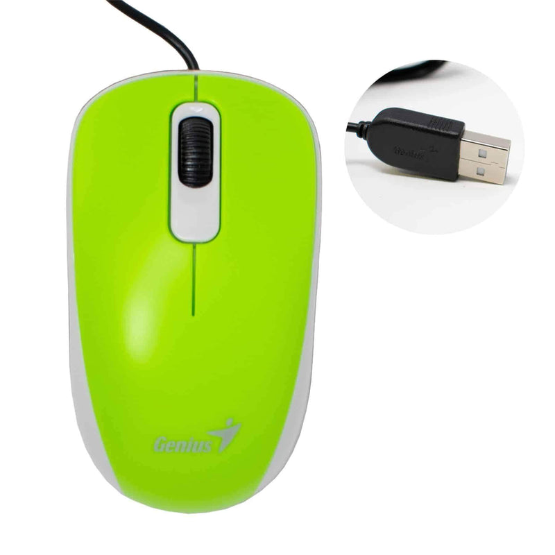 Genius DX110 USB Optical 3-Button Mouse for PC Computer Green Genius