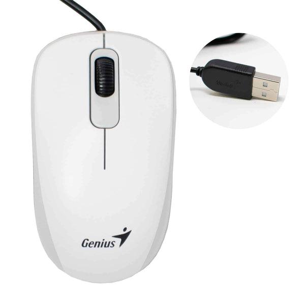 Genius DX110 USB Optical 3-Button Mouse for PC Computer White Genius