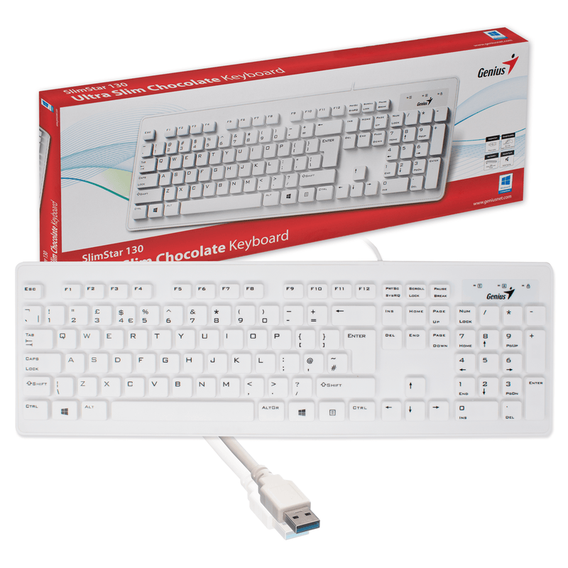 Genius Slimstar 130 Slim USB Keyboard for PC Computer in White Genius