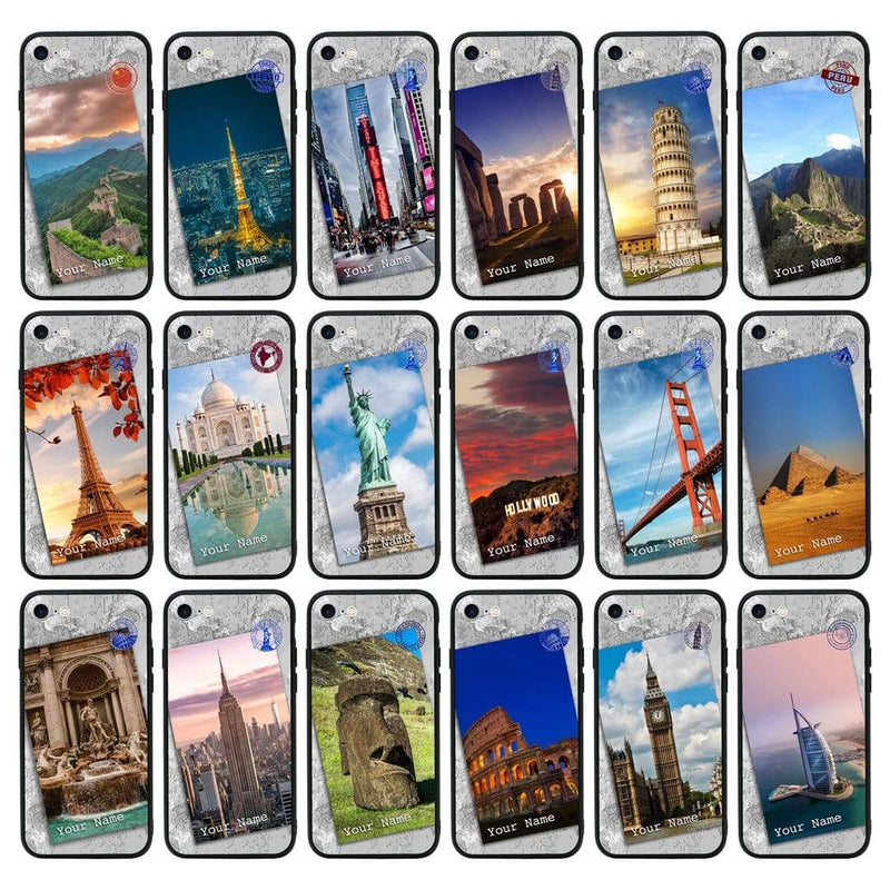 Apple iPhone 6 6s Personalised Name Case Glass Cover / Landmarks I-Choose Ltd