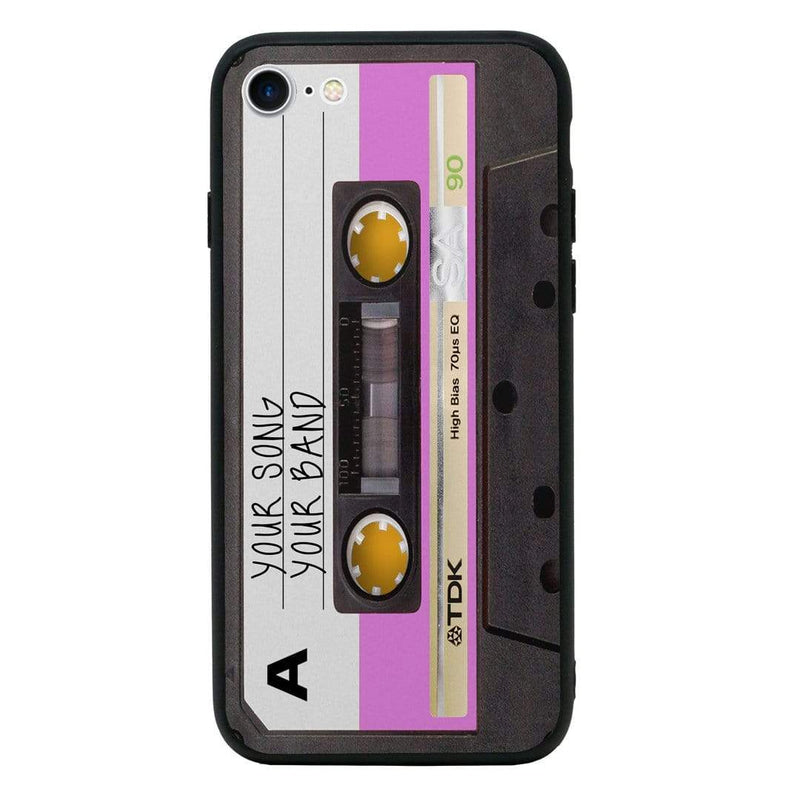 Apple iPhone 7 Personalised Name Case Glass Cover / Cassette Tape I-Choose Ltd