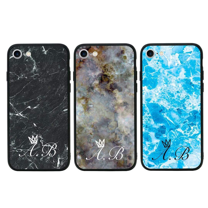 Apple iPhone 7 Plus Personalised Name Case Glass Cover / Marble I-Choose Ltd