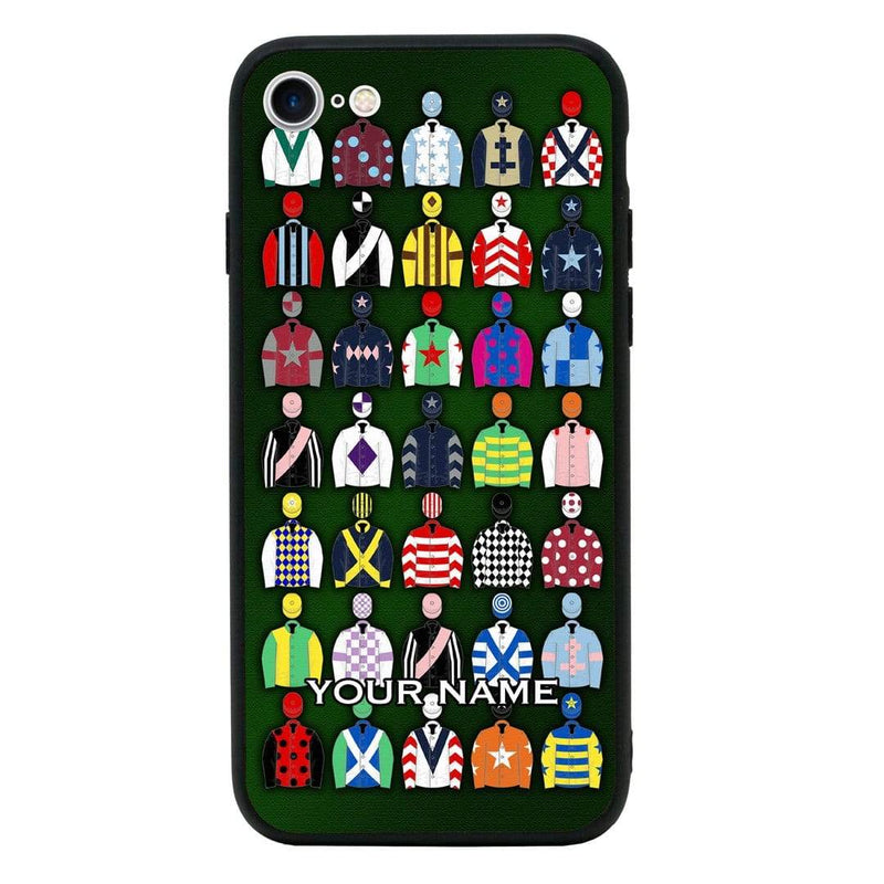 Apple iPhone 8 Personalised Name Case Glass Cover / Horse Racing I-Choose Ltd