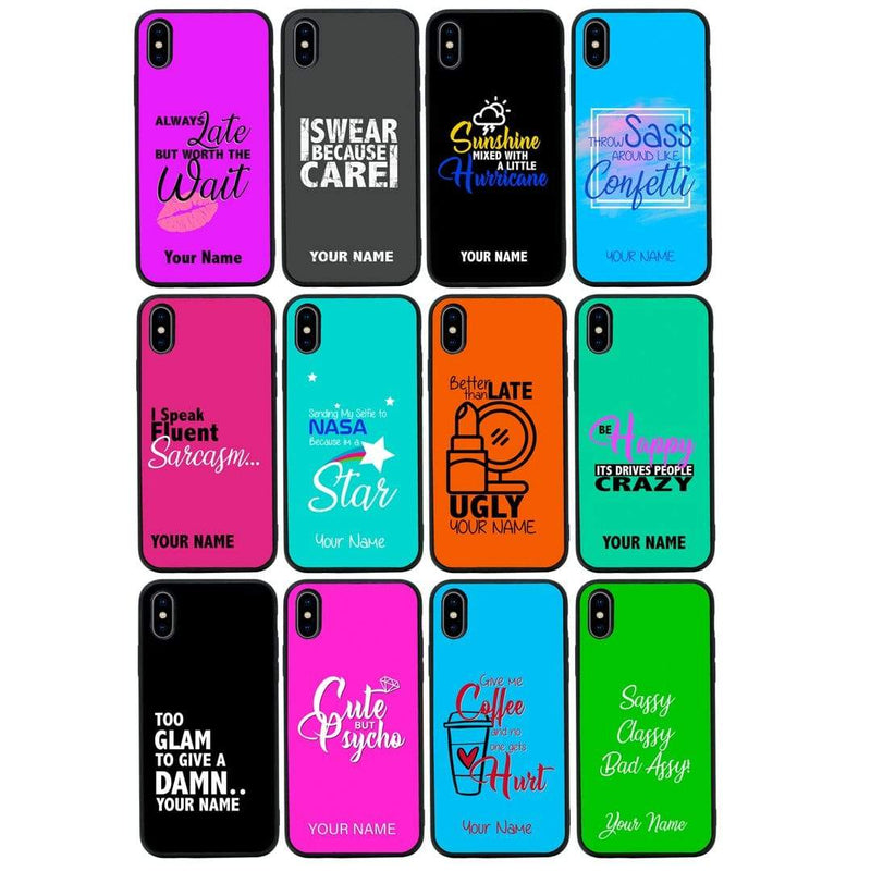 Apple iPhone X XS 10 Personalised Name Case Glass Cover / Sassy I-Choose Ltd